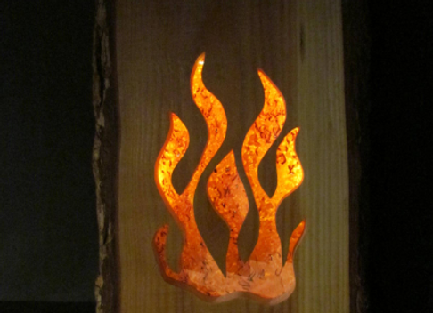 "wooden table/wall lamp - with LED▸ ""campfire"" 3"