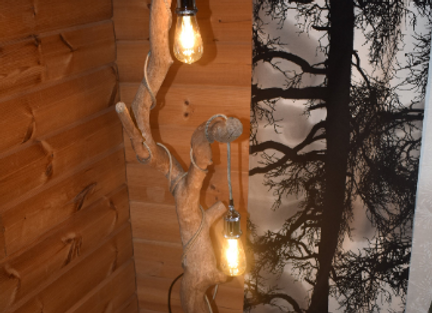 wooden floor lamp ▸ made of oak branch with Edison light bulbs