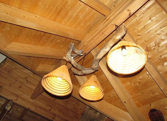 """Rustic Kelo (""""dead"""" wood) ceiling light ▸ wood lamp"""