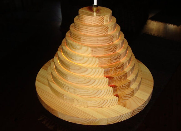 Wooden hanging lamp ▸ made of pine rings 3