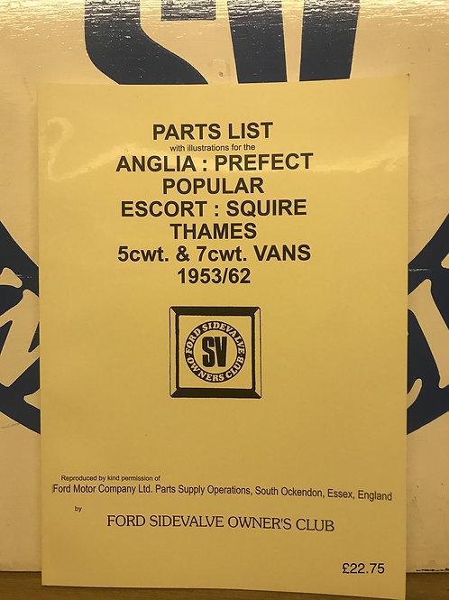 R - (11) 100E Parts list 1953/62, Anglis, Prefect, Popular, Escort (reprint)