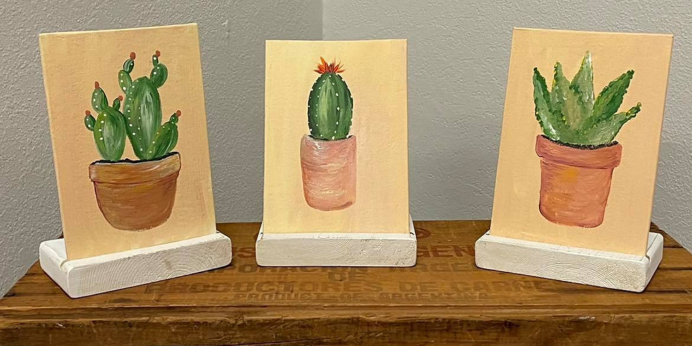 Cactus Trio Painting with Cedar Stand - Friday, July 9th @ 6 pm