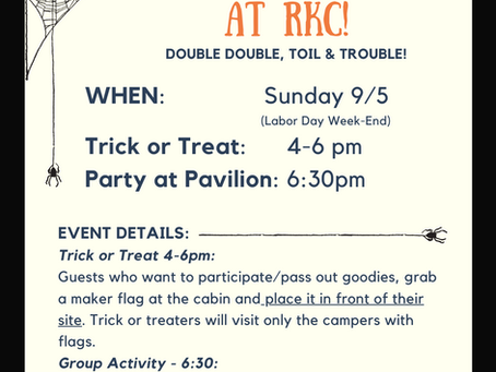 Trick or Treat at RKC - Sunday 9/5 4pm-6pm!