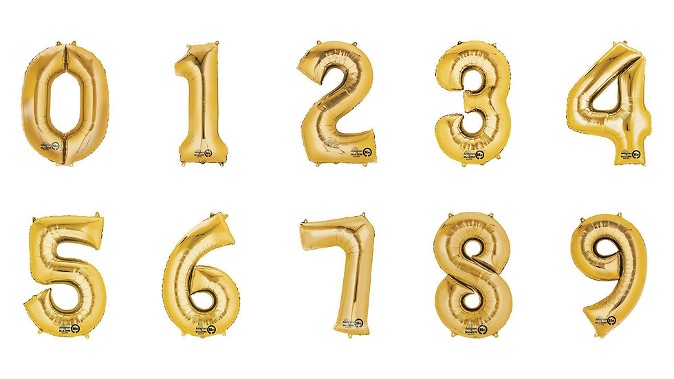 Gold Number Balloons - Foil
