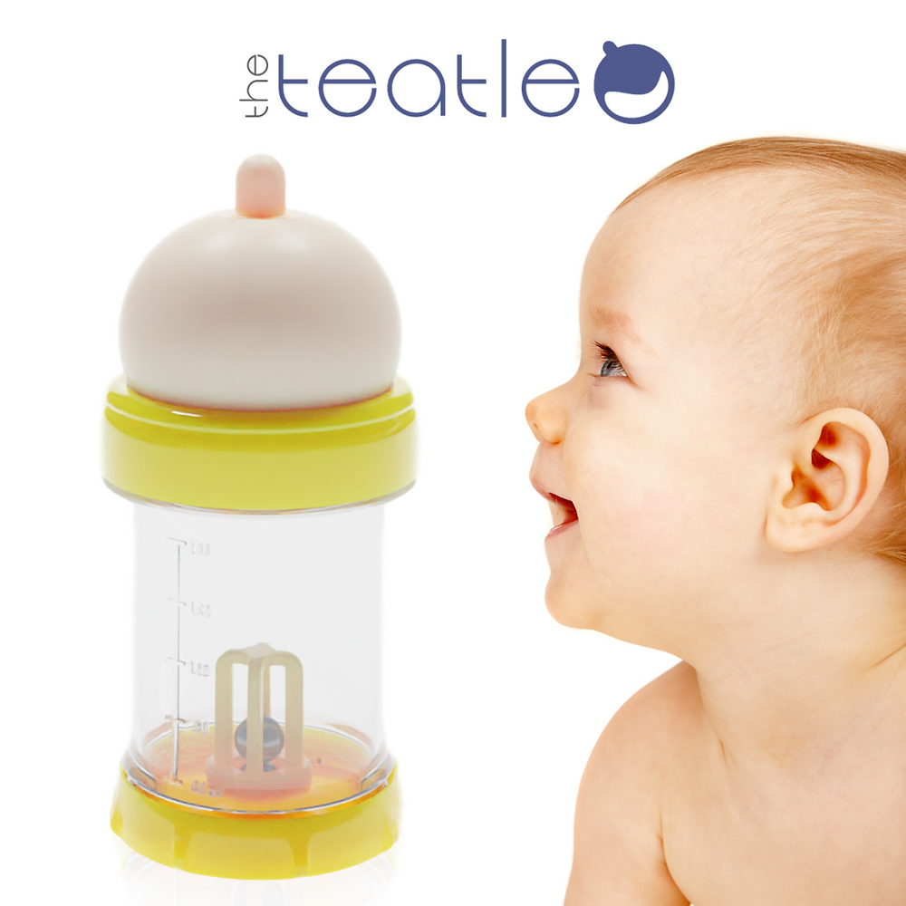 The Teatle baby bottle and a baby