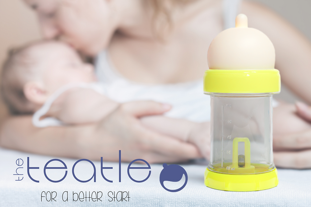 The Teatle baby bottle with mother and baby in the background
