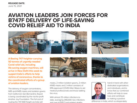 PRESS RELEASE Aviation leaders join forces for B747F delivery of life-saving #COVIDRELIEF aid to Ind