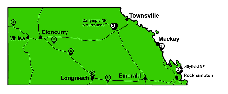 queensland map middle area with markers.