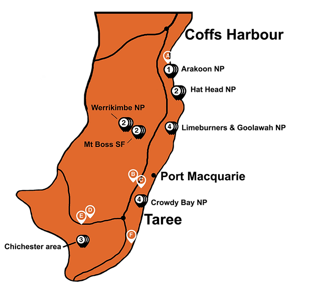NOrth coast NSW - bottom half with marke