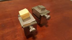 Block tensile testing fixture with sample