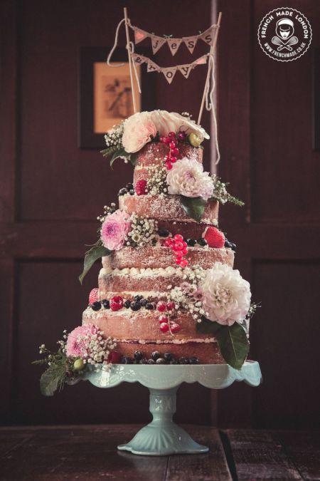 Vintage inspired naked cake