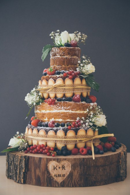 French Made signature naked cake with Langues de Chat.
