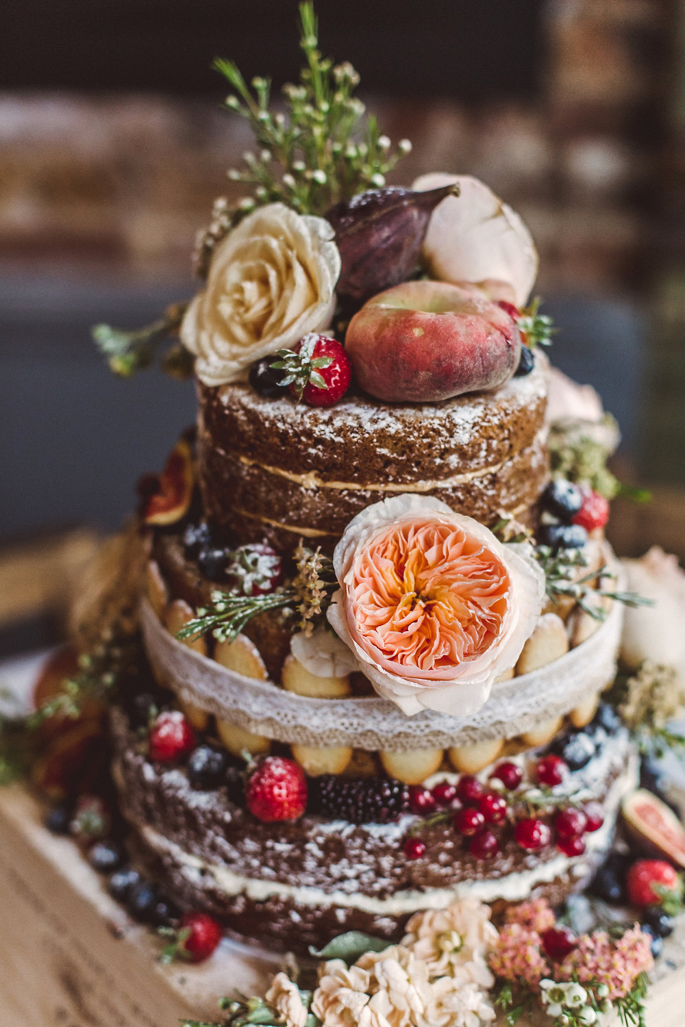 French Made peach themed signature wedding naked cake with Langues de Chat