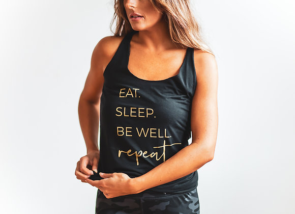 Eat. Sleep. Be Well. Repeat Racerback Tank