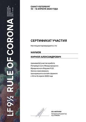 Наумов Кирилл Александрович Сертификат R