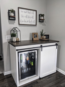 Dry Bar Barn Door Cabinet