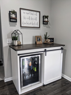 Dry Bar Barn Door Cabinet