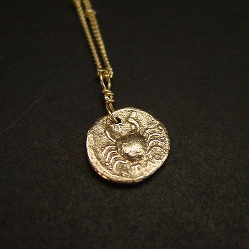 Tiny Crab coin necklace