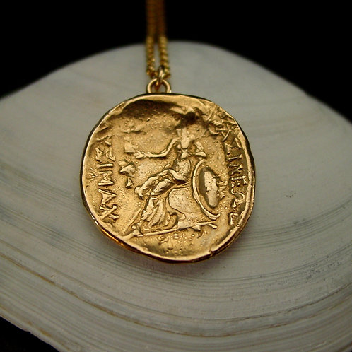 Athena on throne coin necklace on shell