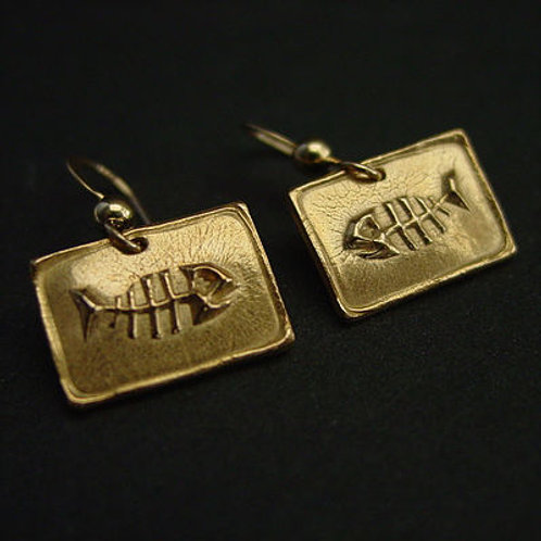 Small Square Fish bone earrings
