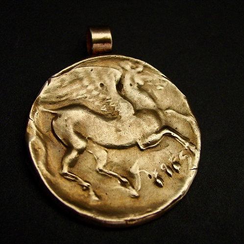 Large Pegasus coin pendant