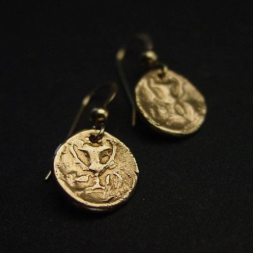 Wine drinking cup coin earrings