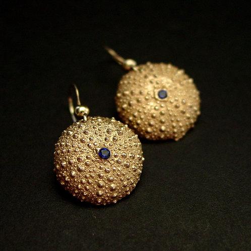 Baby Sea Urchin with sapphire earrings