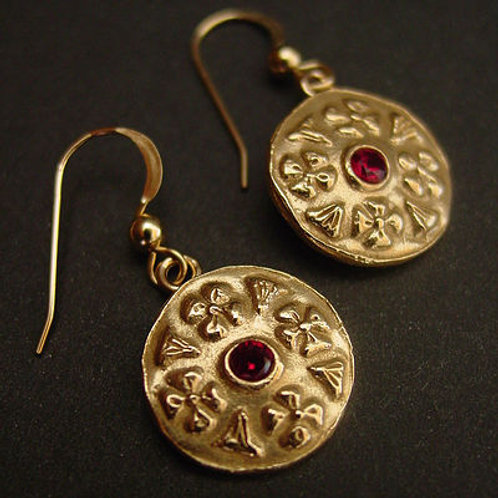 Byzantine flowers earrings with garnet