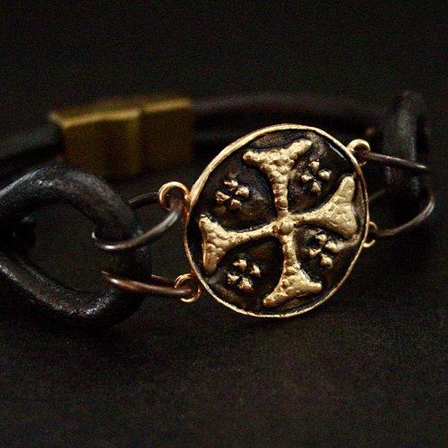 Jerusalem cross leather bracelet close up