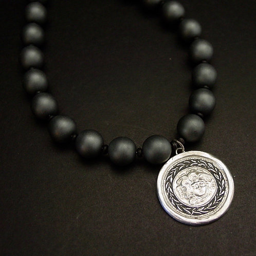 Silver Shield of Medusa cameo with matte grey hematite necklace