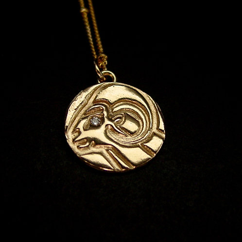 Aries with stone necklace close up