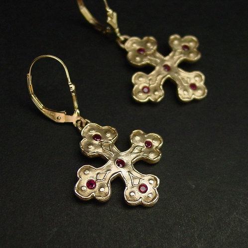 Byzantine cross earrings