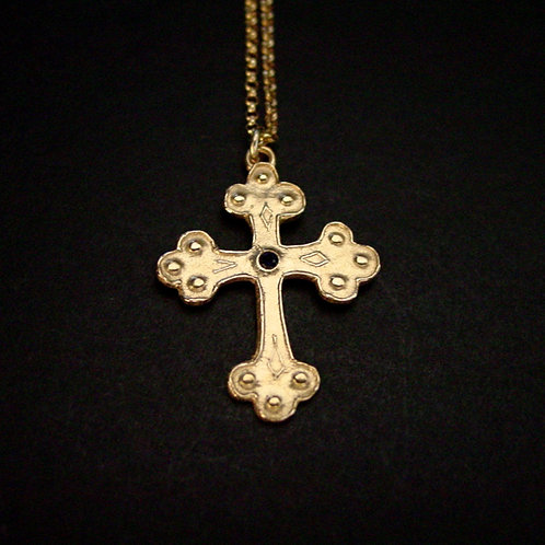 Long thin orthodox cross necklace