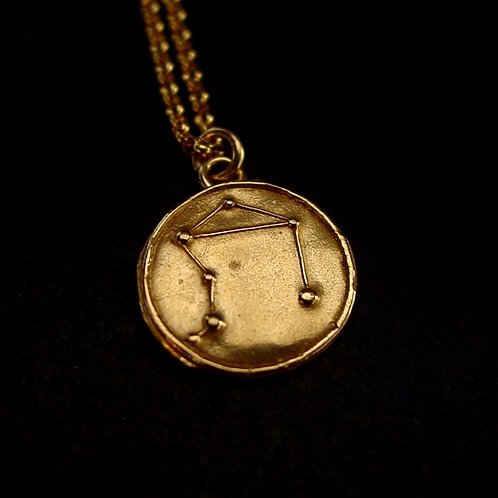 Libra constellation necklace close up