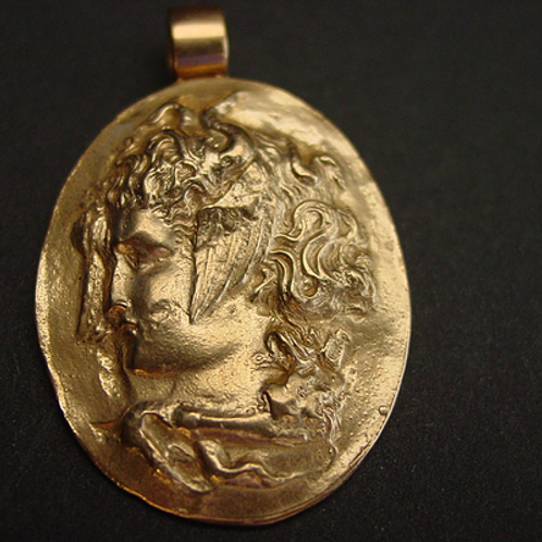 Medusa cameo pendant close up