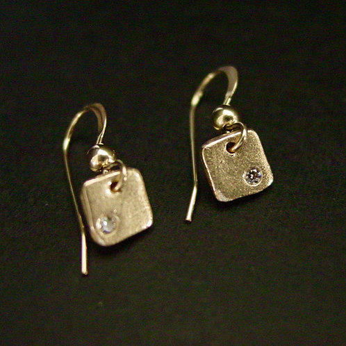 Tiny Square with cz earrings