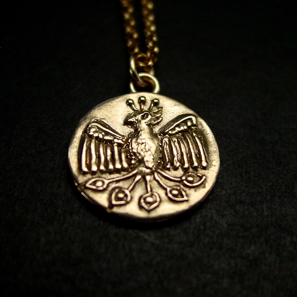 Hand carved Phoenix coin necklace