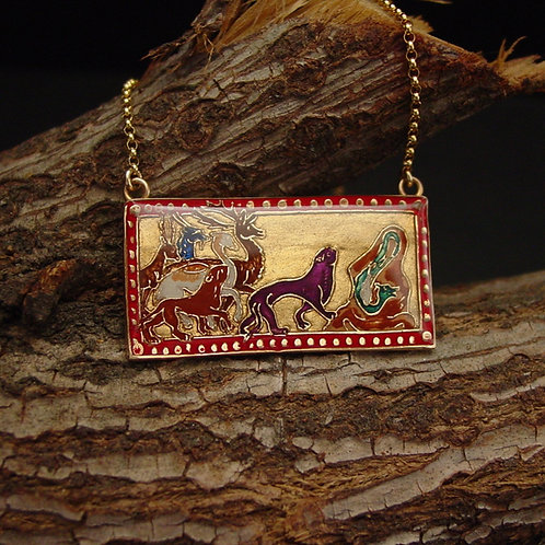 Animals necklace on branch