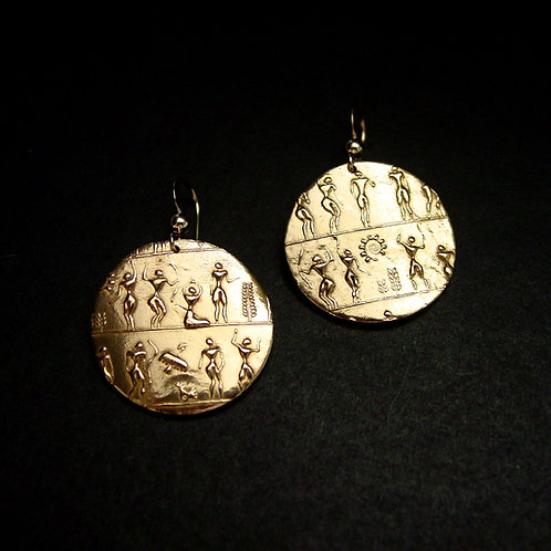 Egyptian petroglyph people earrings 2