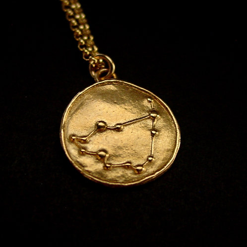 Capricorn constellation necklace close up