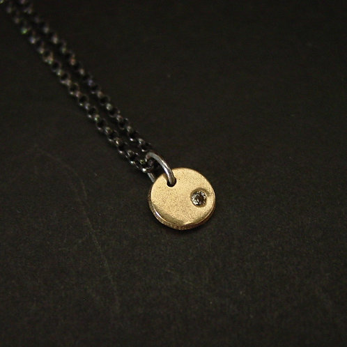 Tiny coin necklace with black chain