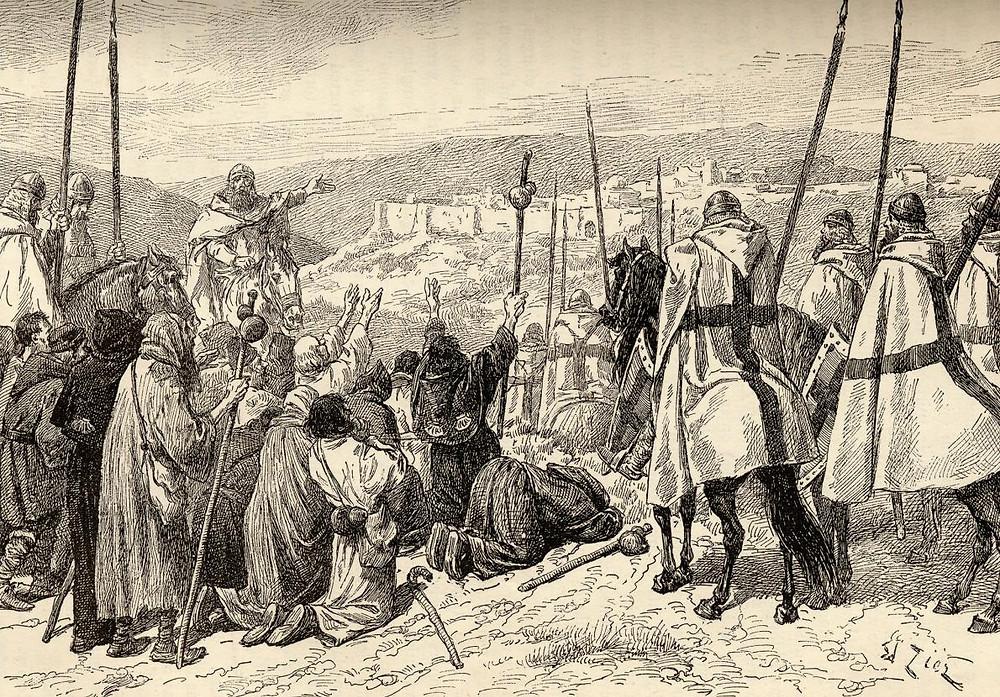 Knights Templar escort Christian pilgrims