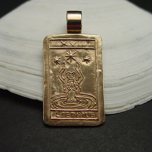 The Star Tarot Card Necklace on shell