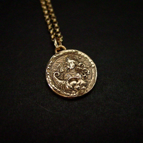 Virgo antiqued coin necklace close up