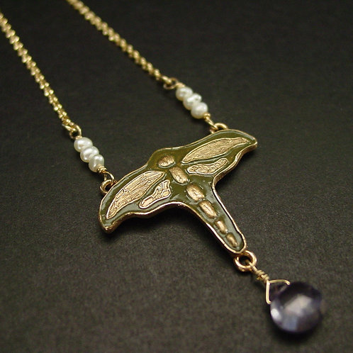 Dragonfly Art Nouveau necklace close up