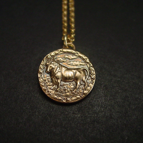 Taurus necklace close up