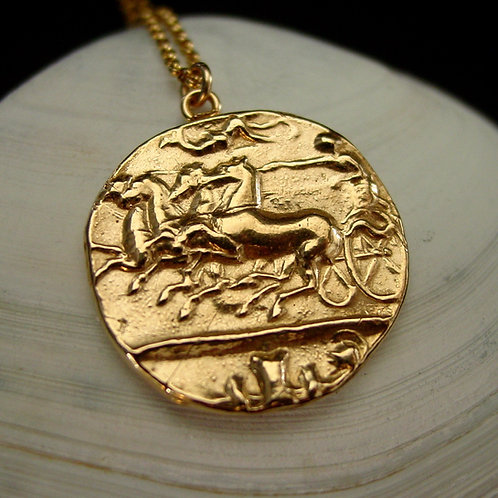 Roman Chariot coin necklace