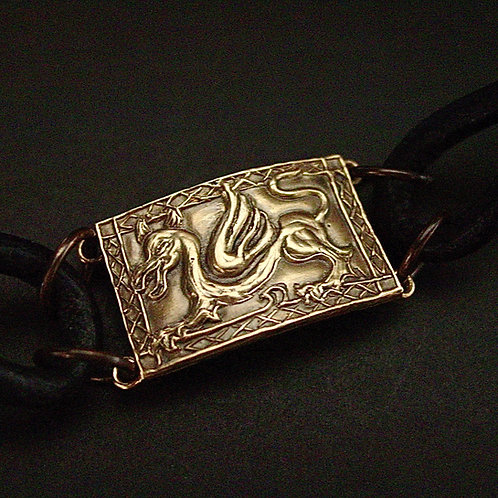Welsh dragon leather bracelet