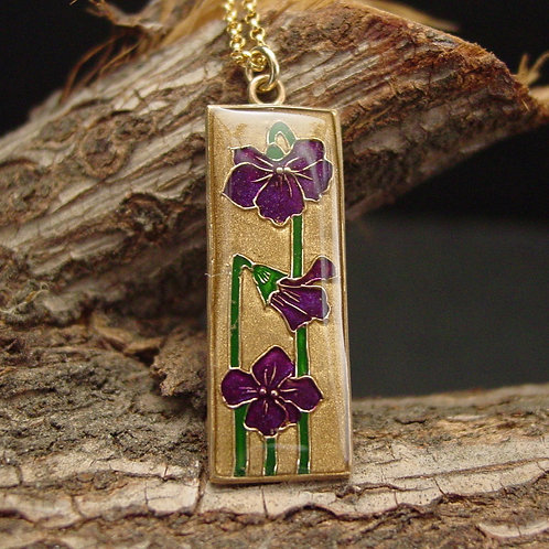 Violet necklace on branch