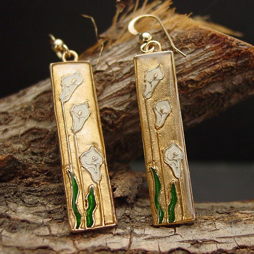 cala lily earrings on branch